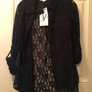 Diane Von Furstenberg DVF Black Lace Top Blouse 2